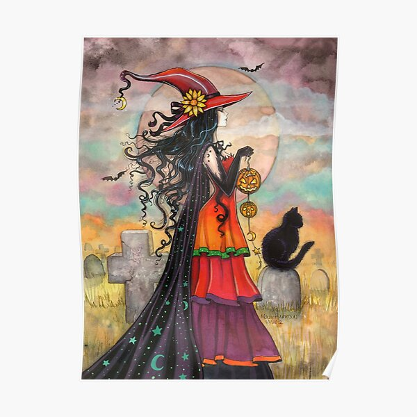 Witch Way Halloween Witch and Black Cat Fantasy Art Poster