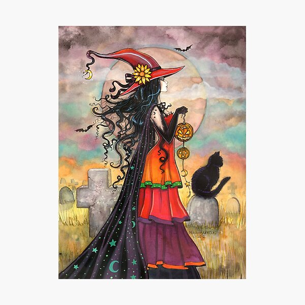 Witch Way Halloween Witch and Black Cat Fantasy Art Photographic Print