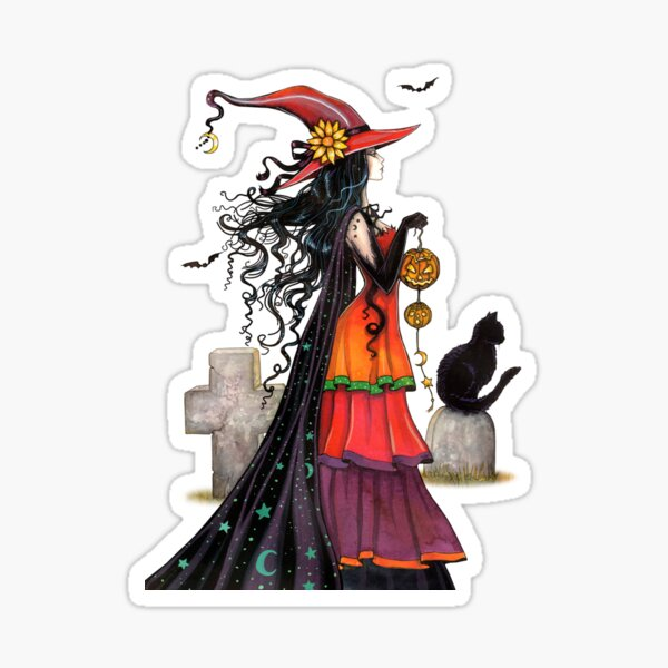 Witch Way Halloween Fantasy Art by Molly Sticker