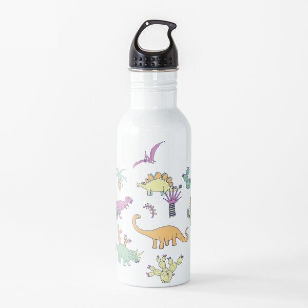 Dinosaur Desert - peach, mint and navy - fun pattern by Cecca Designs Water Bottle
