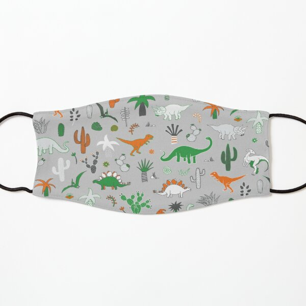 Dinosaur Desert - green and orange on grey - fun pattern by Cecca Designs Kids Mask