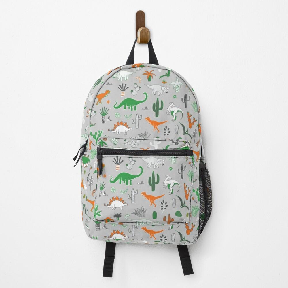 Dinosaur Desert - green and orange on grey - fun pattern by Cecca Designs Backpack