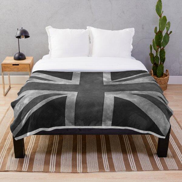 Greyscale Distressed Union Jack Throw Blanket