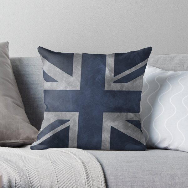 Blue Distressed Union Jack Throw Pillow