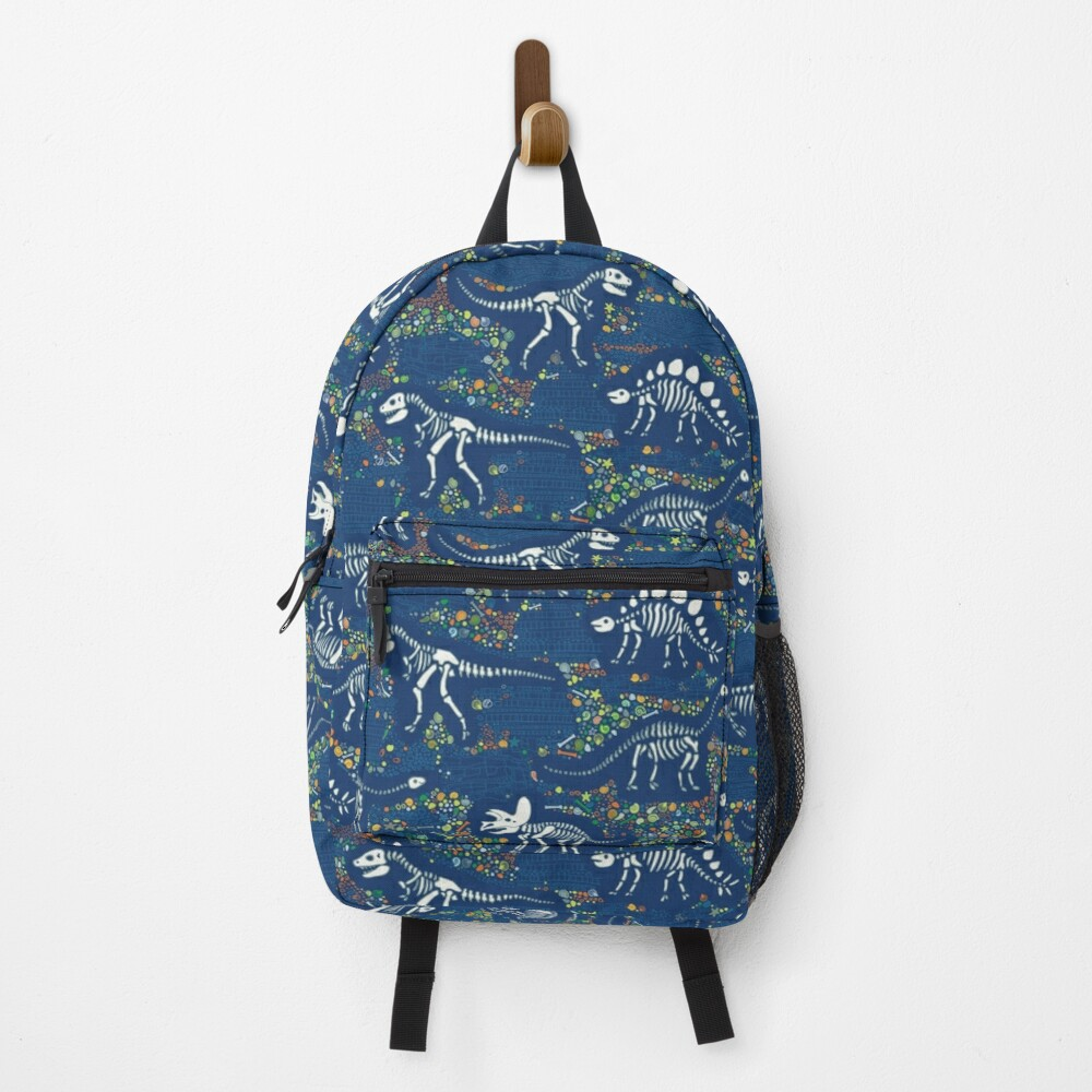 Dinosaur Fossils - Blue - Fun graphic pattern by Cecca Designs Backpack