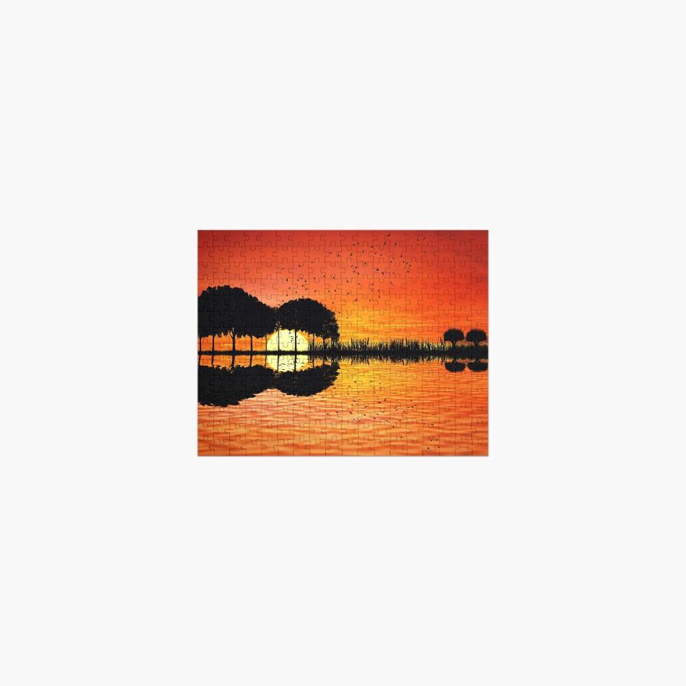 guitar island sunset Jigsaw Puzzle