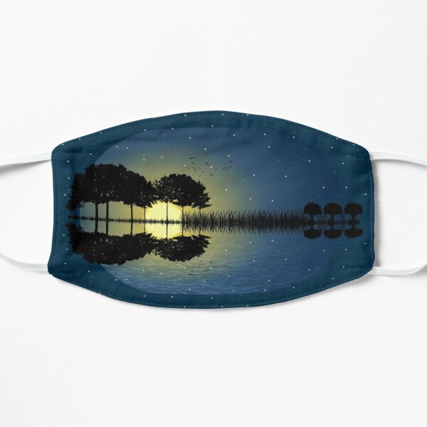guitar island moonlight illustration Flat Mask