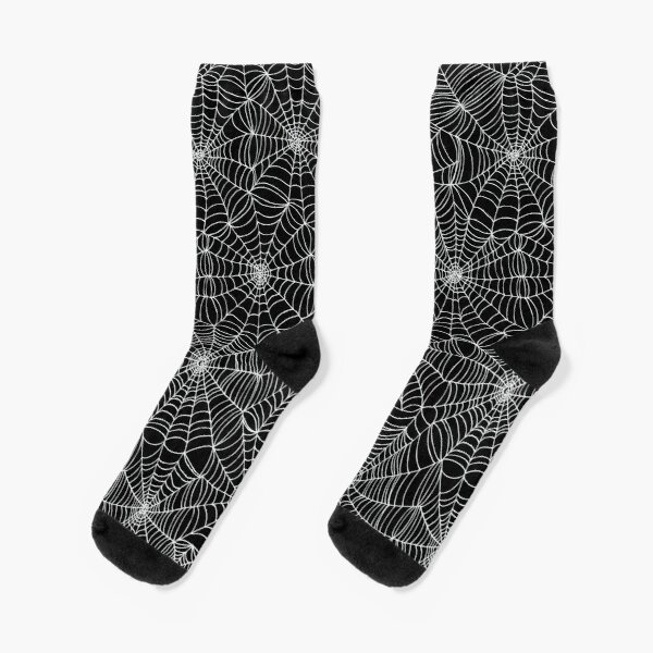 Spider web pattern - white on black by Cecca Designs Socks