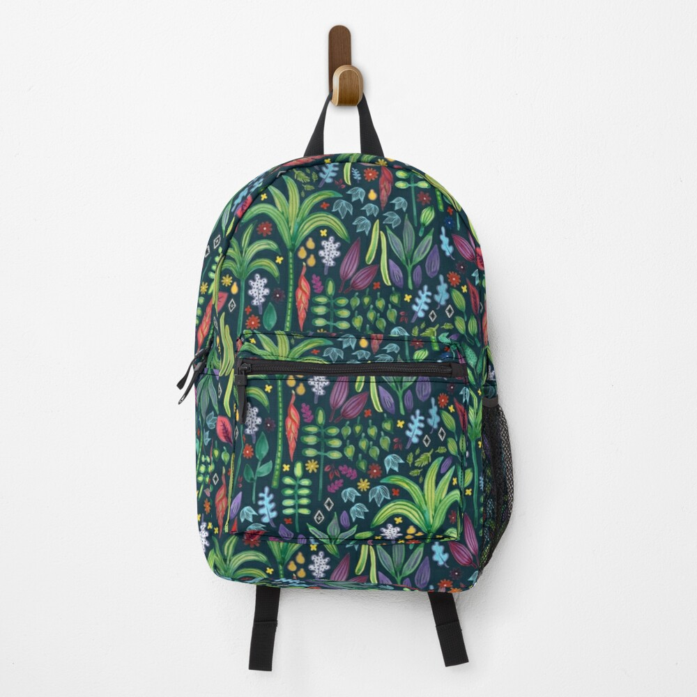 Jungle Flora - watercolour pattern by Cecca Designs Backpack