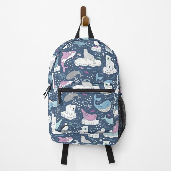 Arctic Animal Icebergs - blue and pink - fun pattern by Cecca Designs Backpack