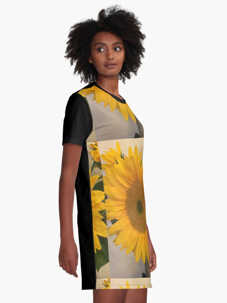 Alternate view of Sunflower, Yellow flower, Sunflower mask Graphic T-Shirt Dress
