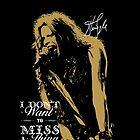 Rock singer golden poster on black background by Vinchenko