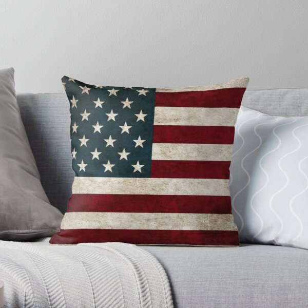 USA American Flag Throw Pillows, Aged American Flag, Red White and Blue  Throw Pillow
