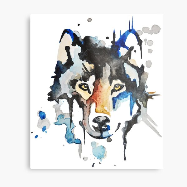 Watercolour Wolf Metal Print