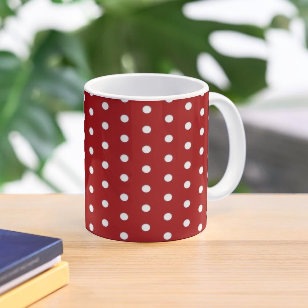 Red White Polka Dot Pattern Mug
