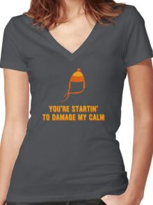 Jayne Hat Shirt - Damage My Calm Women's Fitted V-Neck T-Shirt