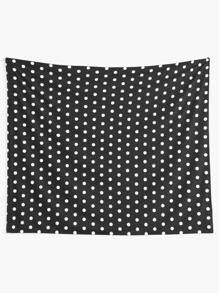 Alternate view of White on Black Polka Design Tapestry