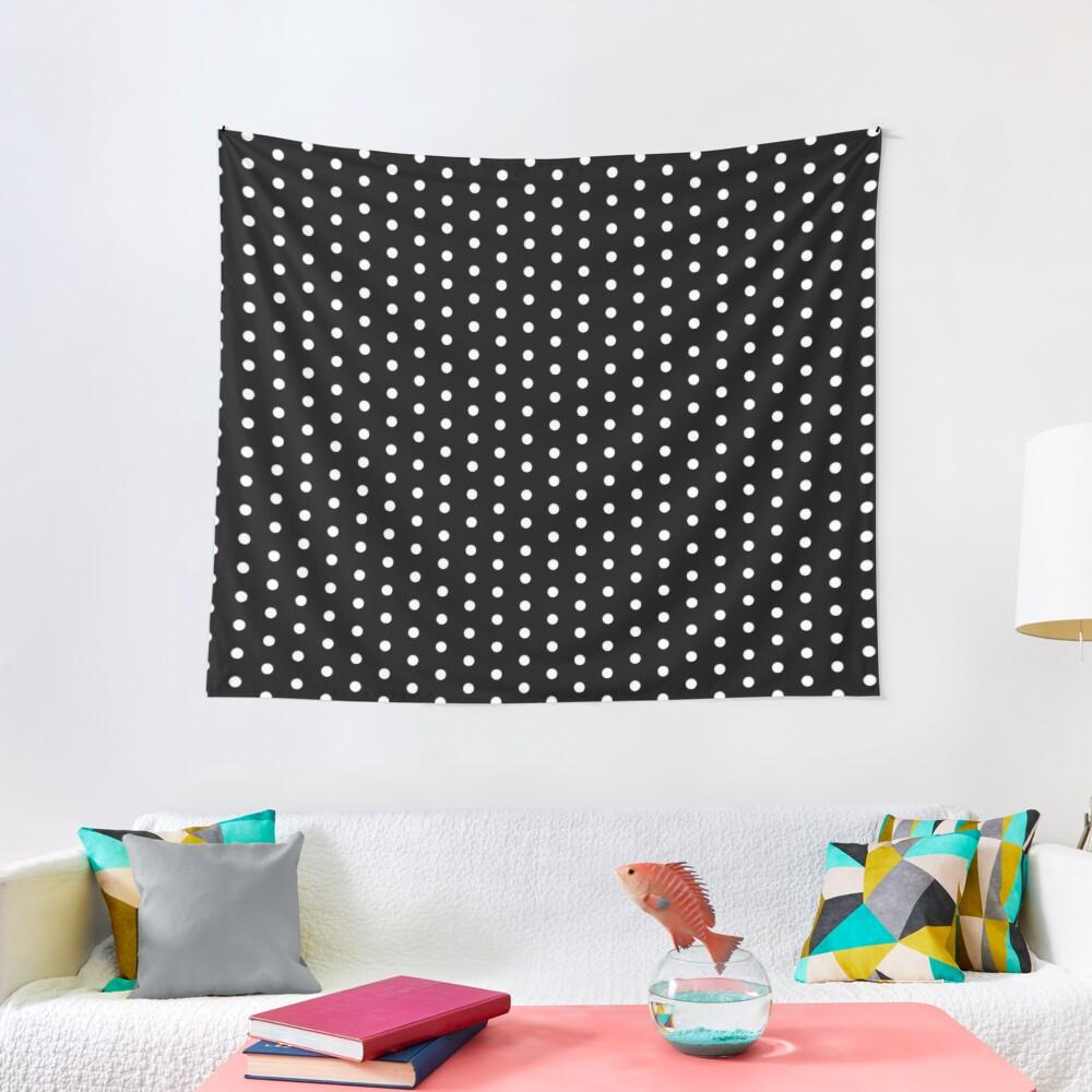 White on Black Polka Design Tapestry