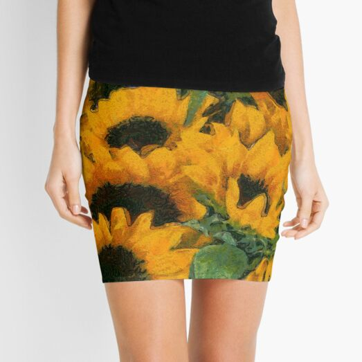 Painted sunflowers In Van Gogh style  Mini Skirt