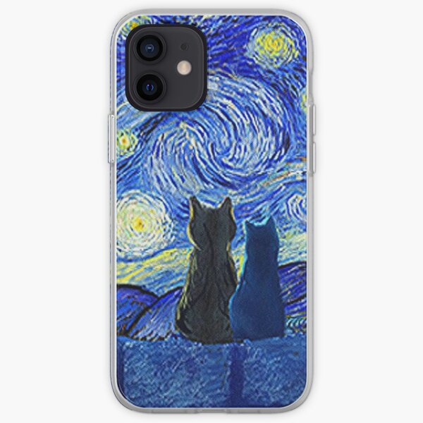 Cats and Starry Night iPhone Soft Case