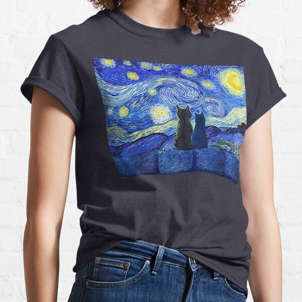 Cats and Starry Night Classic T-Shirt