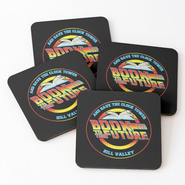 Book to The Future and Save The Clock Tower - Hill Valley Mc Fly and Dr. Brown Coasters (Set of 4)