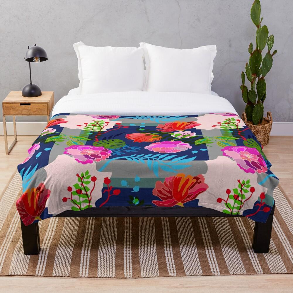 Technicolor Floral Throw Blanket