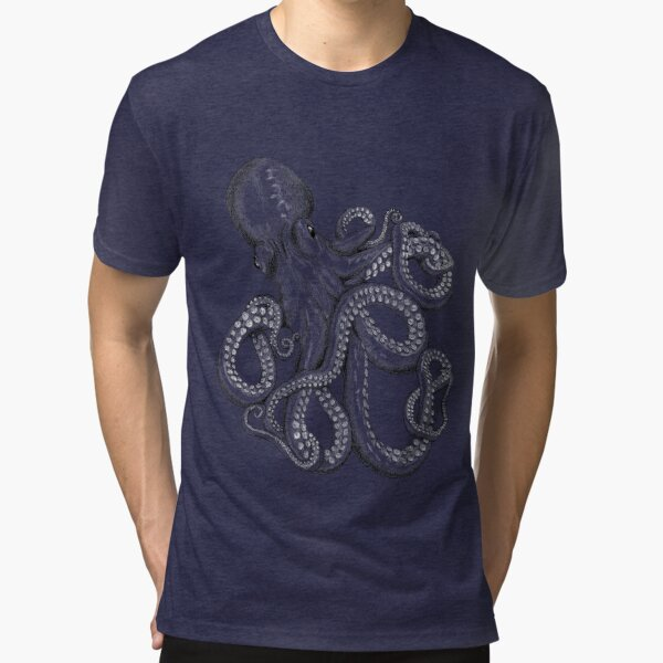 Realistic Octopus - Two Tone Tri-blend T-Shirt