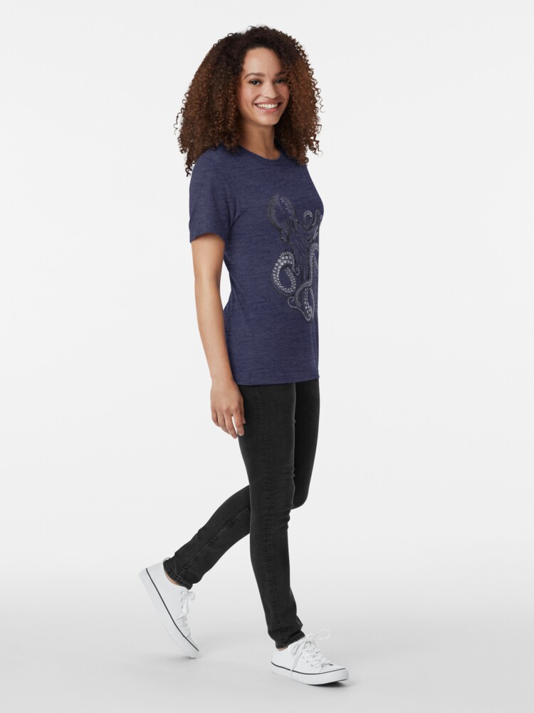 Alternate view of Realistic Octopus - Two Tone Tri-blend T-Shirt