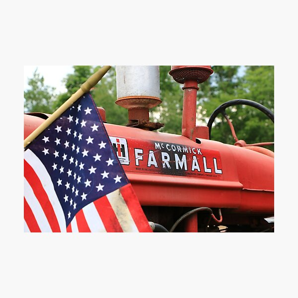 Farmall and Old Glory American Flag Photographic Print