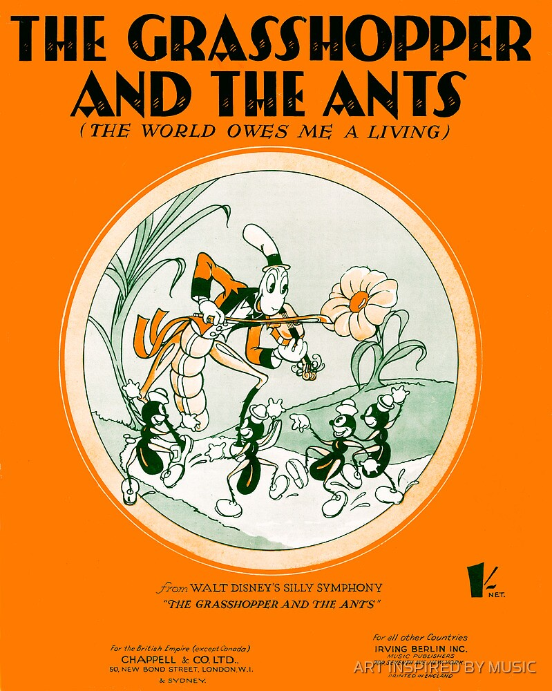THE GRASSHOPPER AND THE ANTS (vintage illustration) by ART INSPIRED BY MUSIC