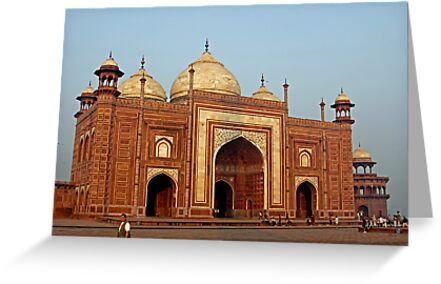 Dusk at the Mosque behind the Taj Mahal by renprovo