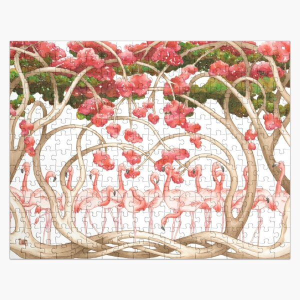 Flamingos in the Flame Trees Jigsaw Puzzle