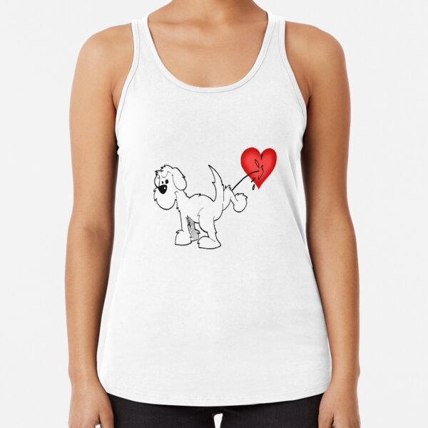 DOG - at least the dog likes me ! - on aqua Racerback Tank Top