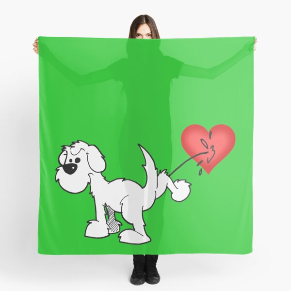 DOG - at least the dog likes me ! - on green Scarf
