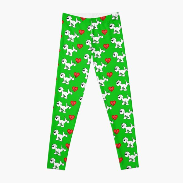 DOG - at least the dog likes me ! - on green Leggings