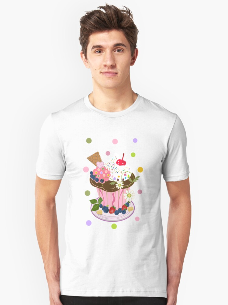 Cute Summer Cupcake Tee with Polkadots Unisex T-Shirt Front