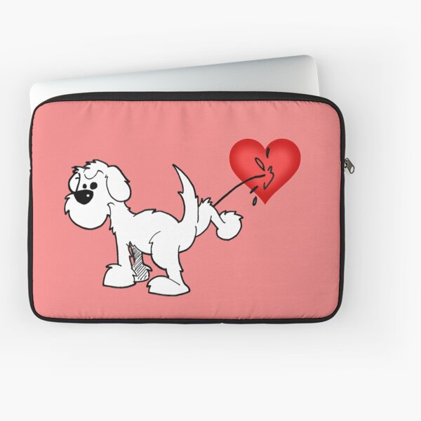 DOG - at least the dog likes me ! - on (washed out) red Laptop Sleeve