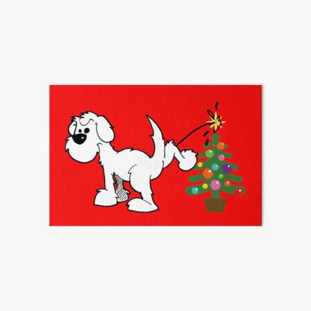 Merry Christmas, love DOG - on red Art Board Print