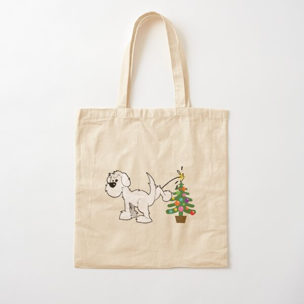 Merry Christmas, love DOG - on red Cotton Tote Bag