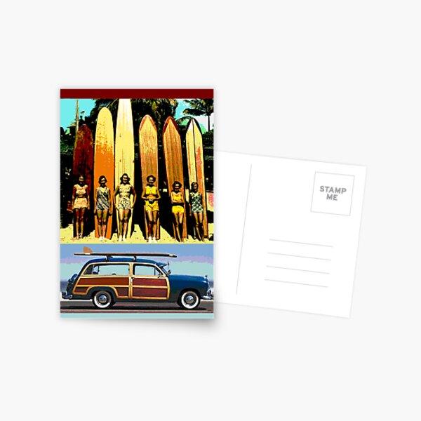 Cool Babes & Hot Rod Postcard