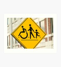Adult, children and handicap Pedestrian Sign Art Print