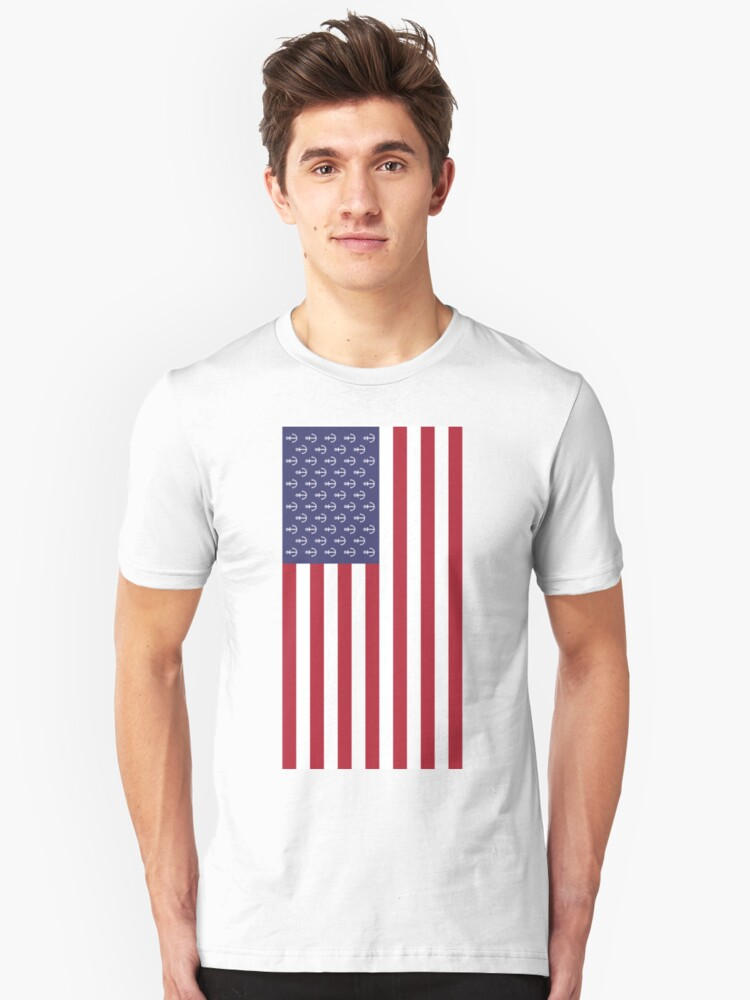 Anchor American flag Unisex T-Shirt Front