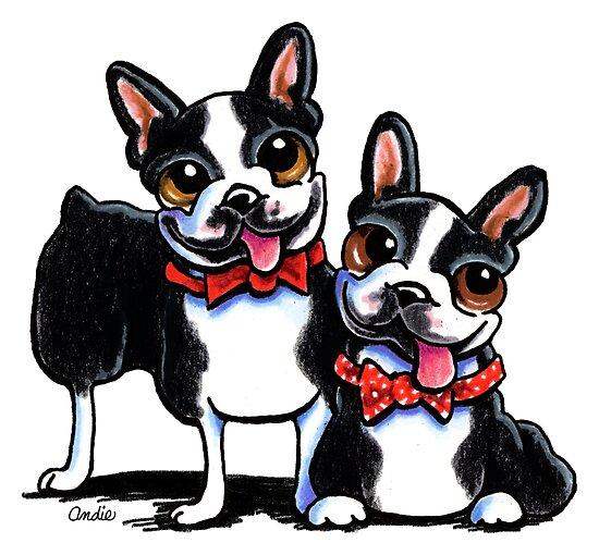 Merry Gentlemen   Boston Terriers by offleashart