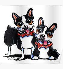 Merry Gentlemen   Boston Terriers Poster