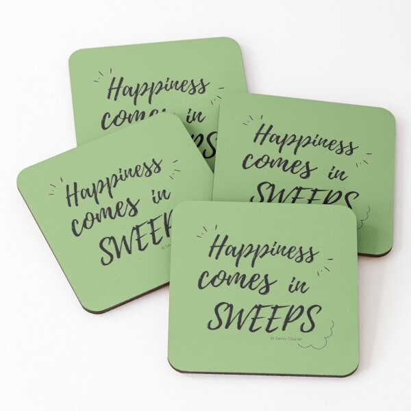 Happiness Comes in Sweeps Coasters (Set of 4)
