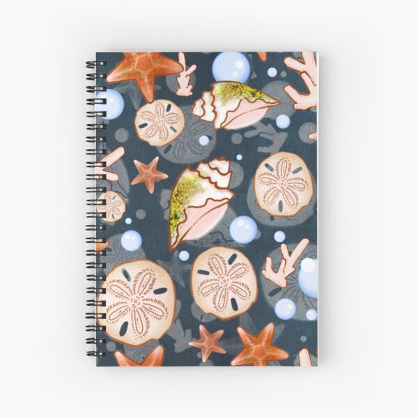 Beach Life Sea Shell Illustrated Pattern Spiral Notebook