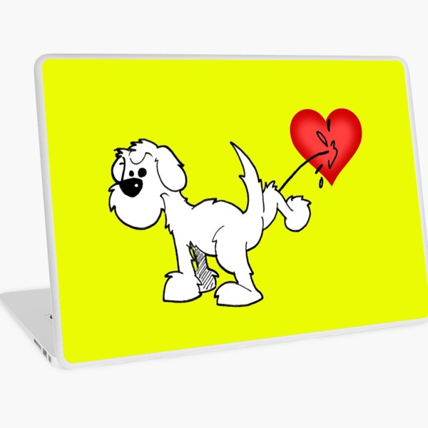 DOG - at least the dog likes me ! - on yellow Laptop Skin