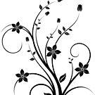 B&W flower scroll by keyweegirlie