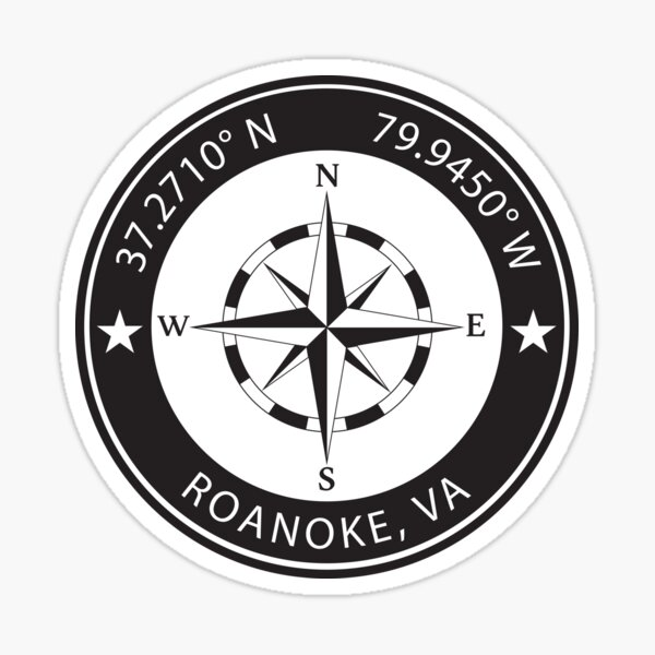 Roanoke, Virginia Geographical Coordinates Sticker